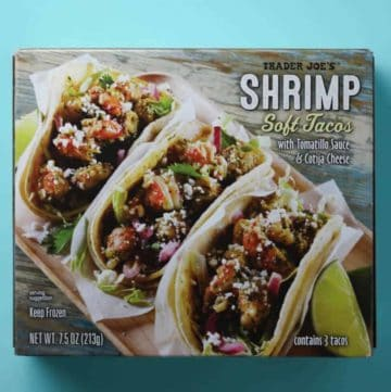 Trader Joe's Shrimp Soft Tacos box on a blue background