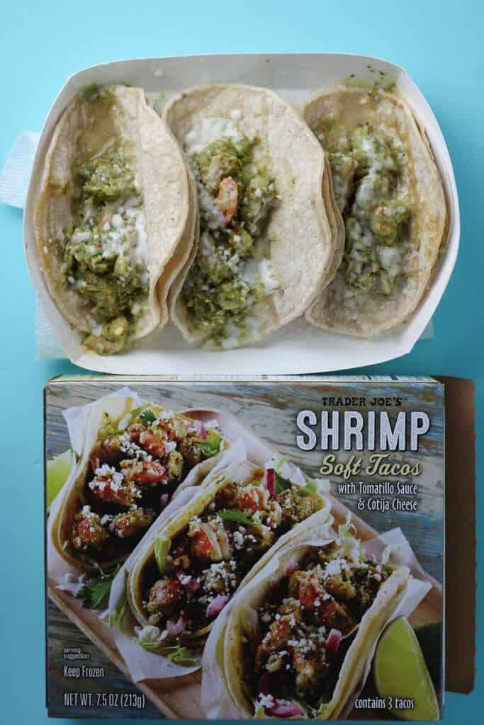 Trader Joe's Shrimp Soft Tacos after being microwaved