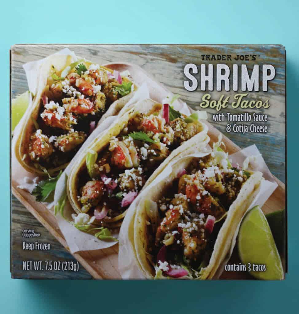 Trader Joe's Shrimp Soft Tacos box on a blue background