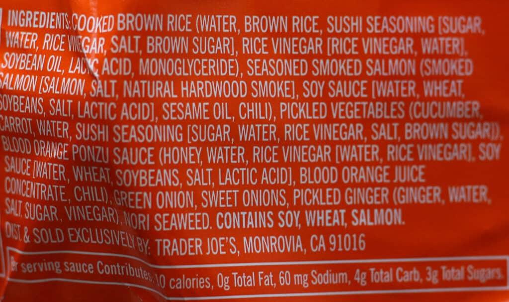 Trader Joe's Smoked Salmon Poke Bowl ingredients
