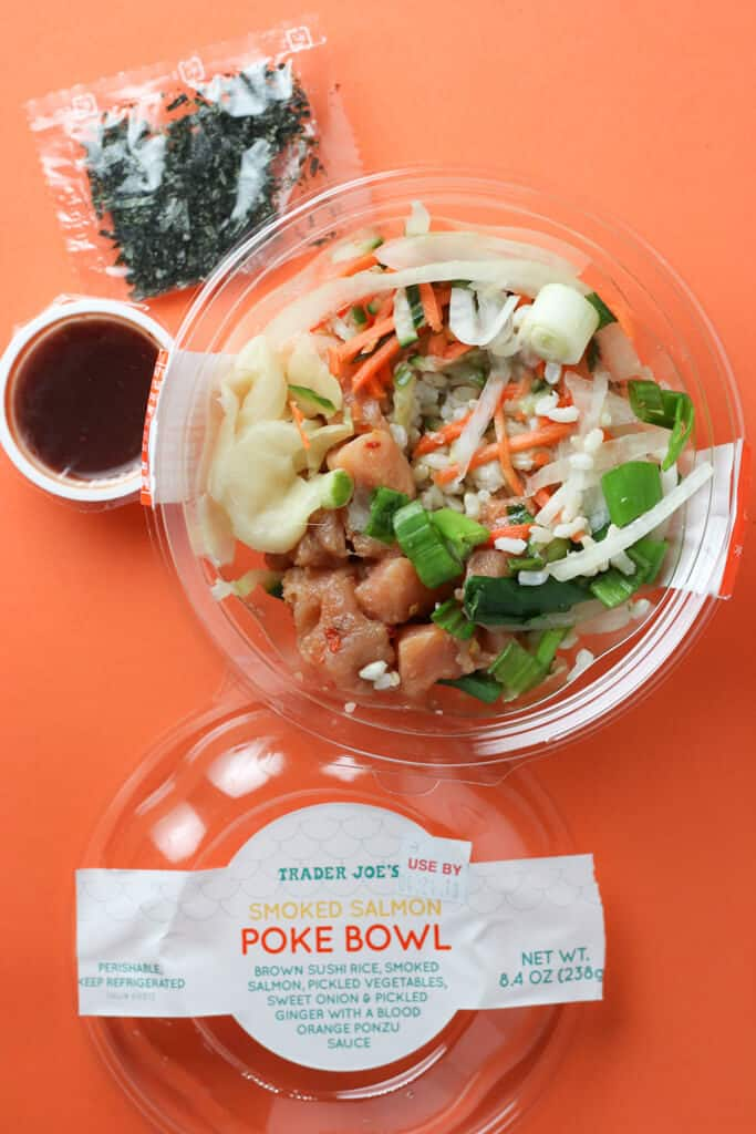 Trader Joe's Smoked Salmon Poke Bowl opened to show off the contents of the package