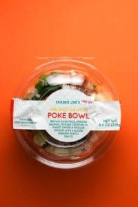 Trader Joes Smoked Salmon Poke Bowl review pin for Pinterest.