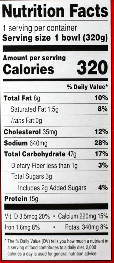 Trader Joe's Sriracha Shrimp Bowl nutritional information