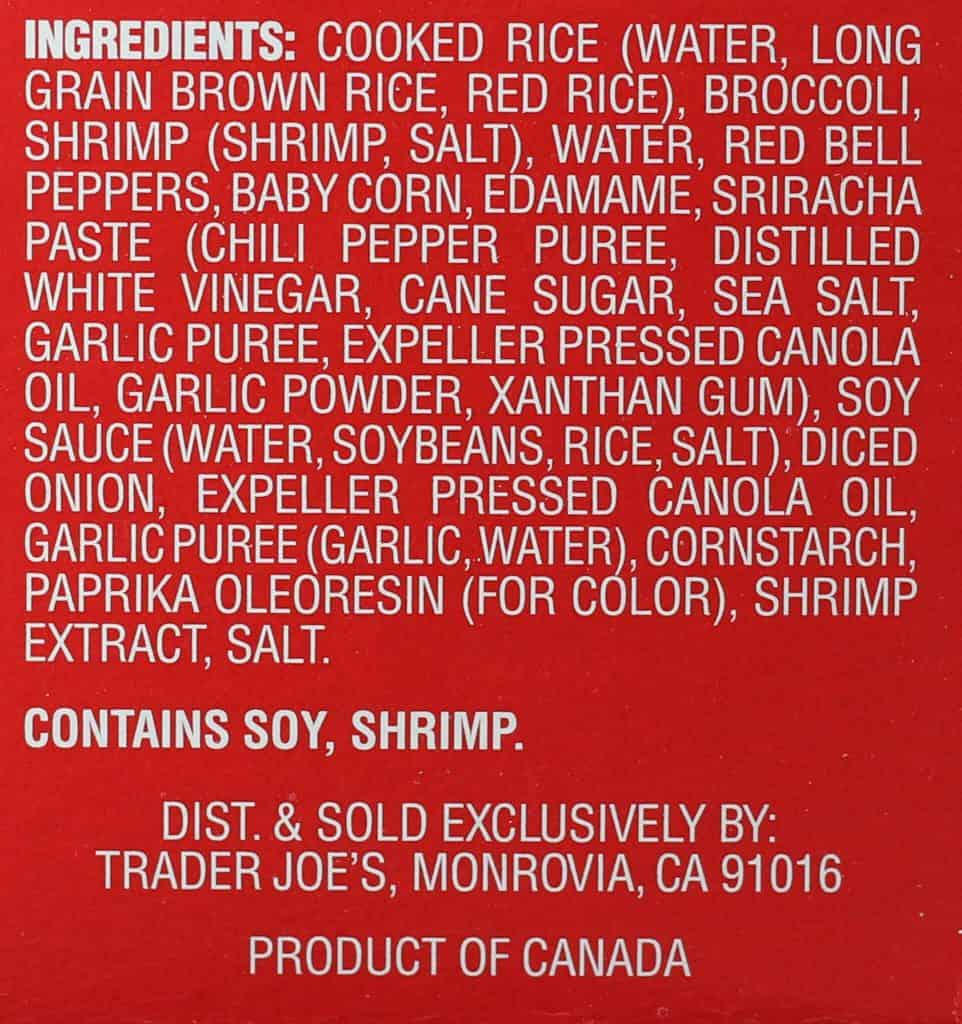 Trader Joe's Sriracha Shrimp Bowl ingredient list