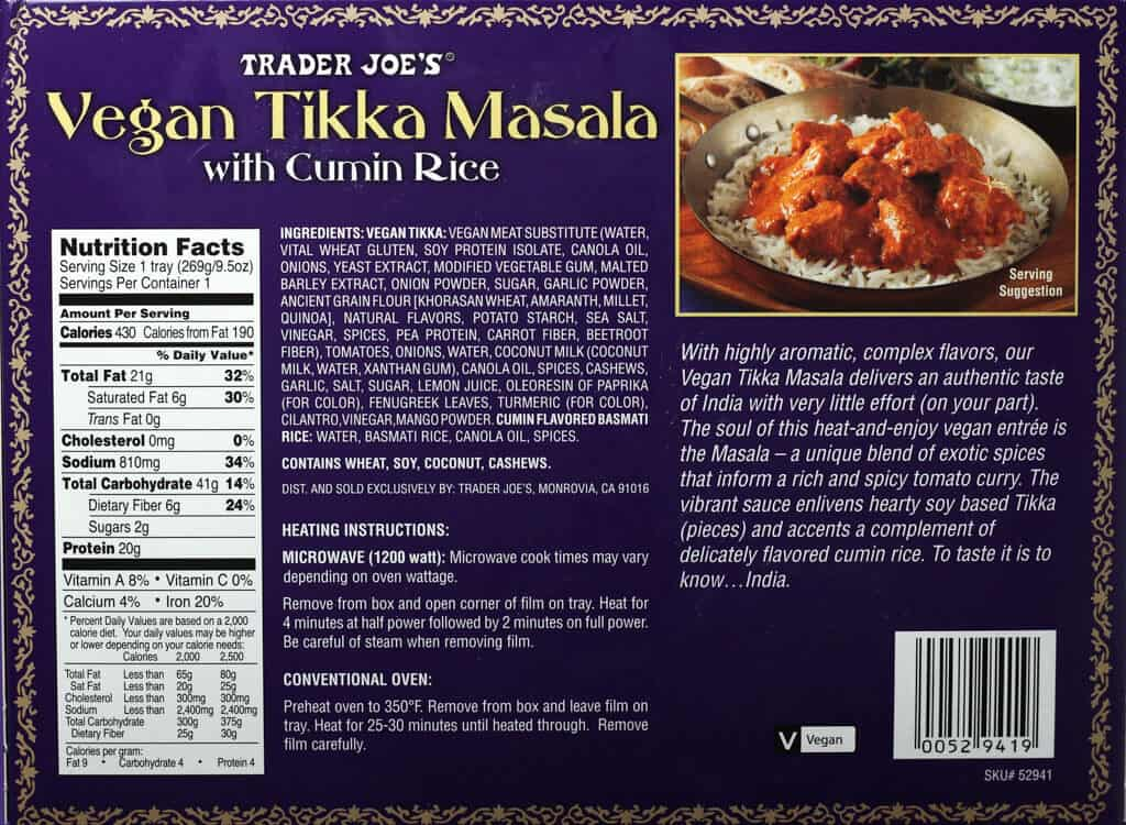 Trader Joe's Vegan Tikka Masala nutritional information, ingredients, and how to prepare