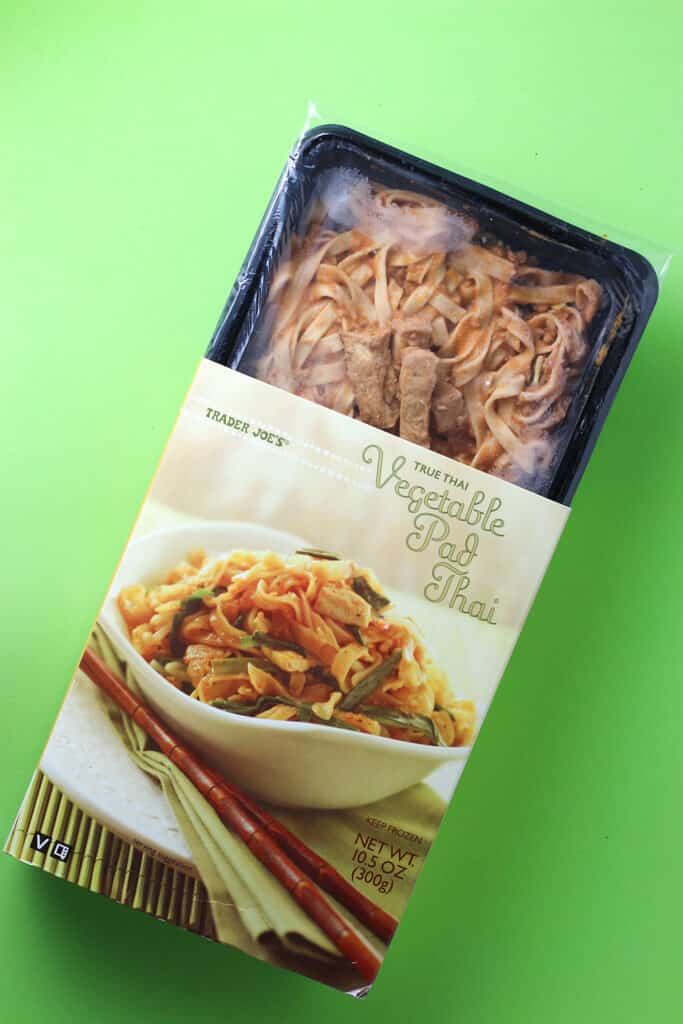 Trader Joe's Vegetable Pad Thai showing off the contents on the inside