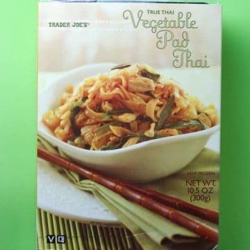 Trader Joe's Vegetable Pad Thai box on a green background