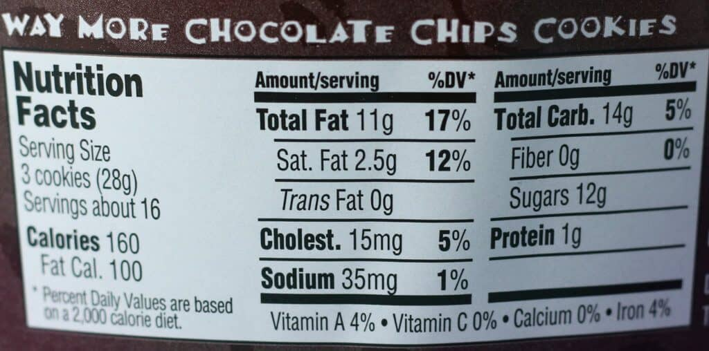 Trader Joe's Way More Chocolate Chips Cookies nutrition facts