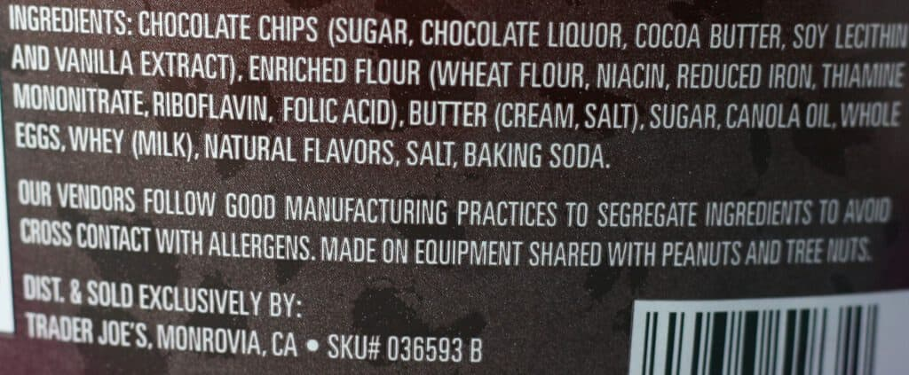 Trader Joe's Way More Chocolate Chips Cookies ingredients