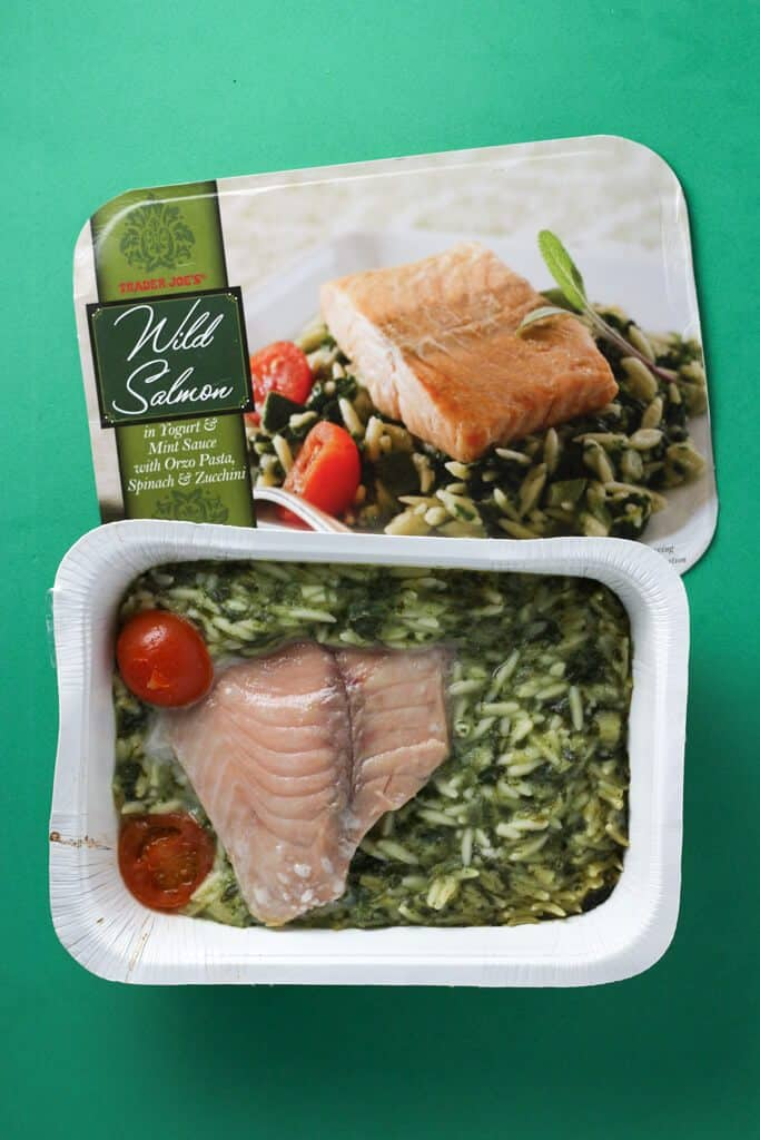 Trader Joe's Wild Salmon in Yogurt and Mint Sauce cooked