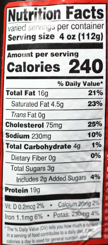 Trader Joe's BBQ Seasoned Spatchcocked Chicken nutritional information