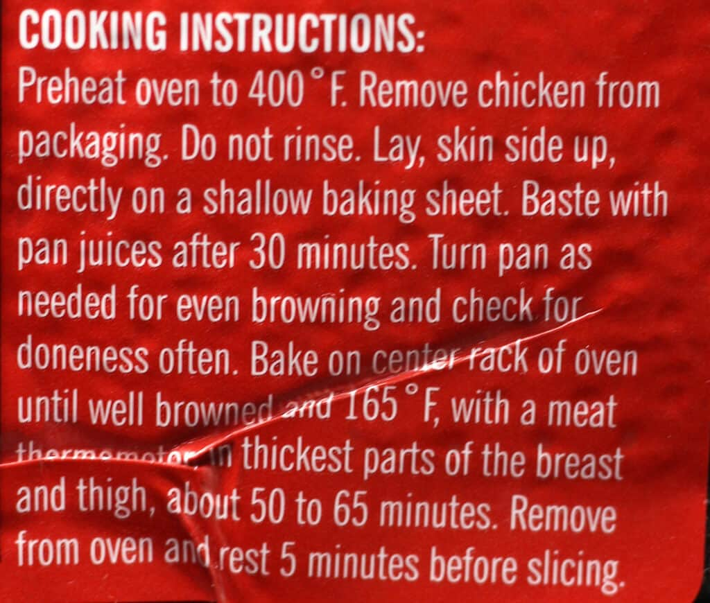 Trader Joe's BBQ Seasoned Spatchcocked Chicken directions