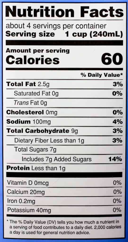 Trader Joe's Blueberry Lavender Flavored Almond Beverage nutritional information