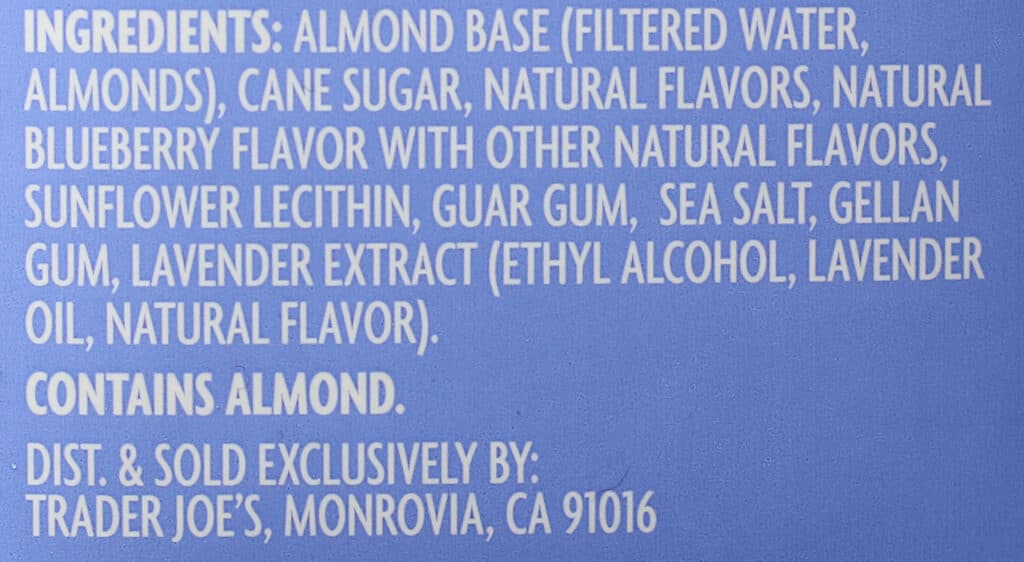 Trader Joe's Blueberry Lavender Flavored Almond Beverage ingredient list