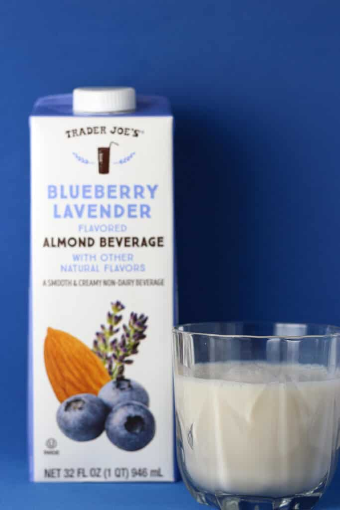 Trader Joe's Blueberry Lavender Flavored Almond Beverage in a glass