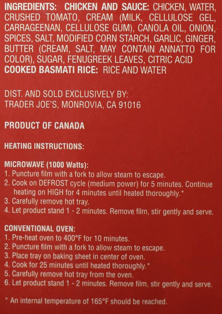 Trader Joe's Butter Chicken ingredient list