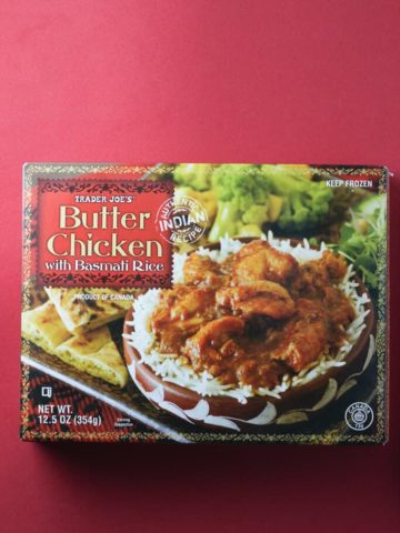 Trader Joe's Butter Chicken box on red background