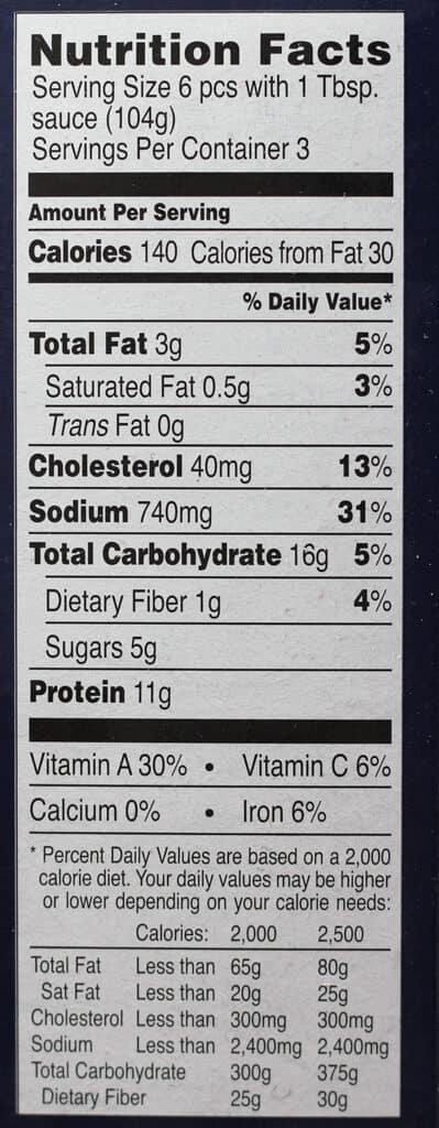 Trader Joe's Chicken Shu Mai nutritional information