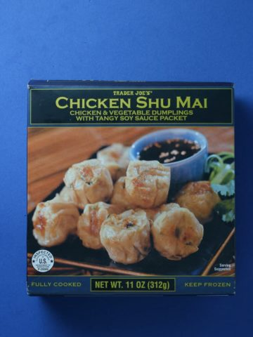 An unopened box of Trader Joe's Chicken Shu Mai box