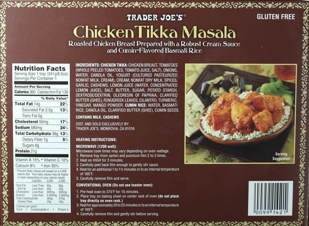 Trader Joe's Chicken Tikka Masala nutritional information, ingredients, and how to prepare
