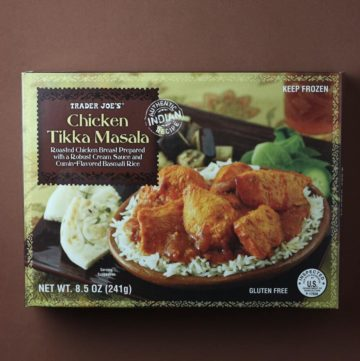 Trader Joe's Chicken Tikka Masala box on a brown background