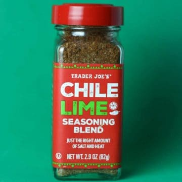 An unopened jar of Trader Joe's Chile Lime Seasoning Blend jar