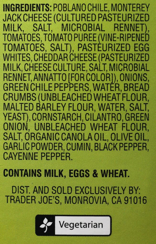 Trader Joe's Chile Relleno ingredient list
