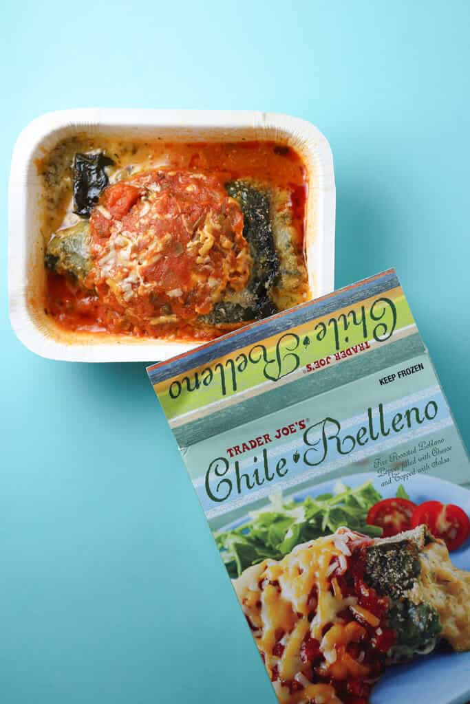 Trader Joe's Chile Relleno fully cooked and next to the original box.