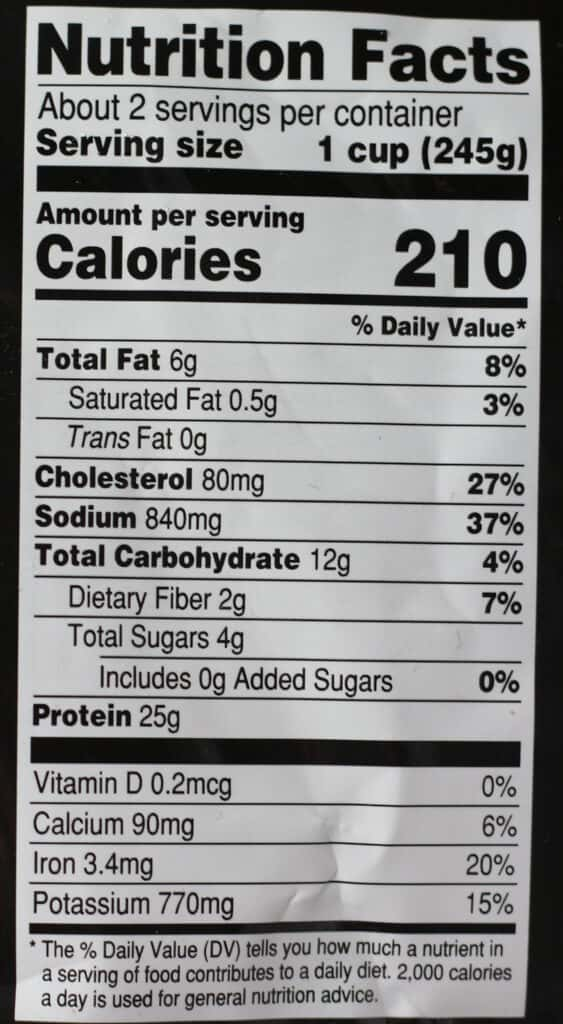 Trader Joe's Cioppino Seafood Stew nutritional information