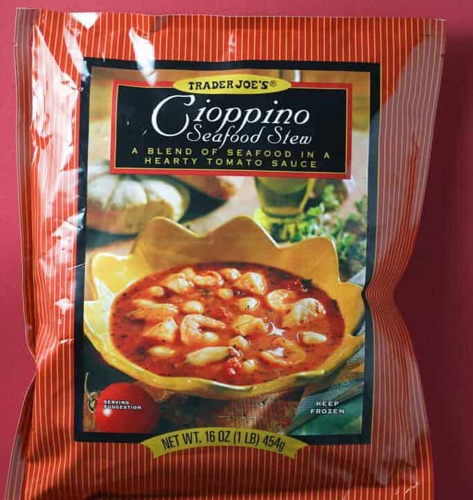 An unopened bag of Trader Joe's Cioppino Seafood Stew package