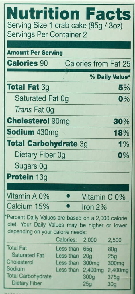 Trader Joe's Crab Cakes nutritional information