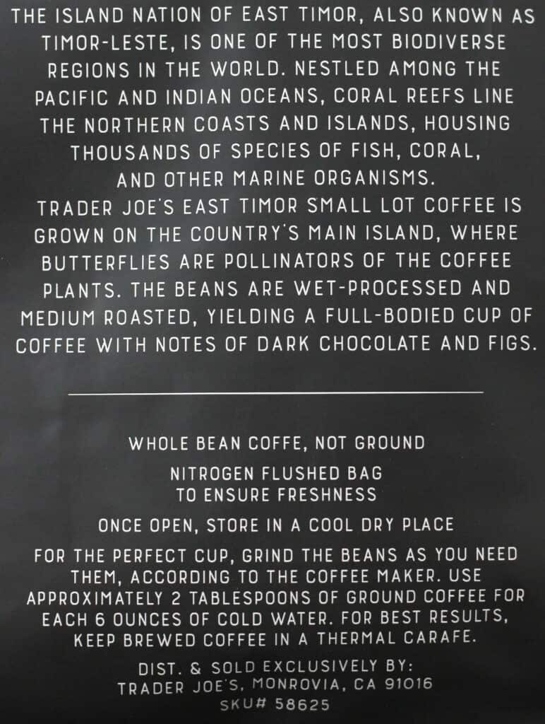 Trader Joe's East Timor Small Lot Coffee how to prepare and description