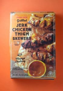 Trader Joe's Grilled Jerk Chicken Thigh Skewers box