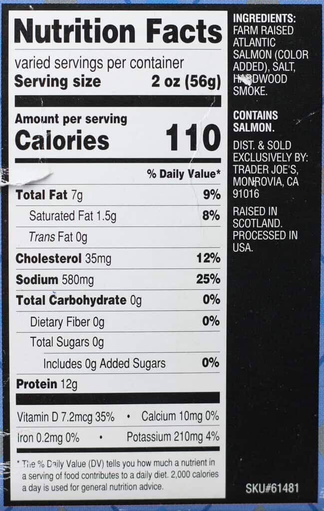 Trader Joe's Hot Smoked Scottish Salmon nutritional information and ingredients