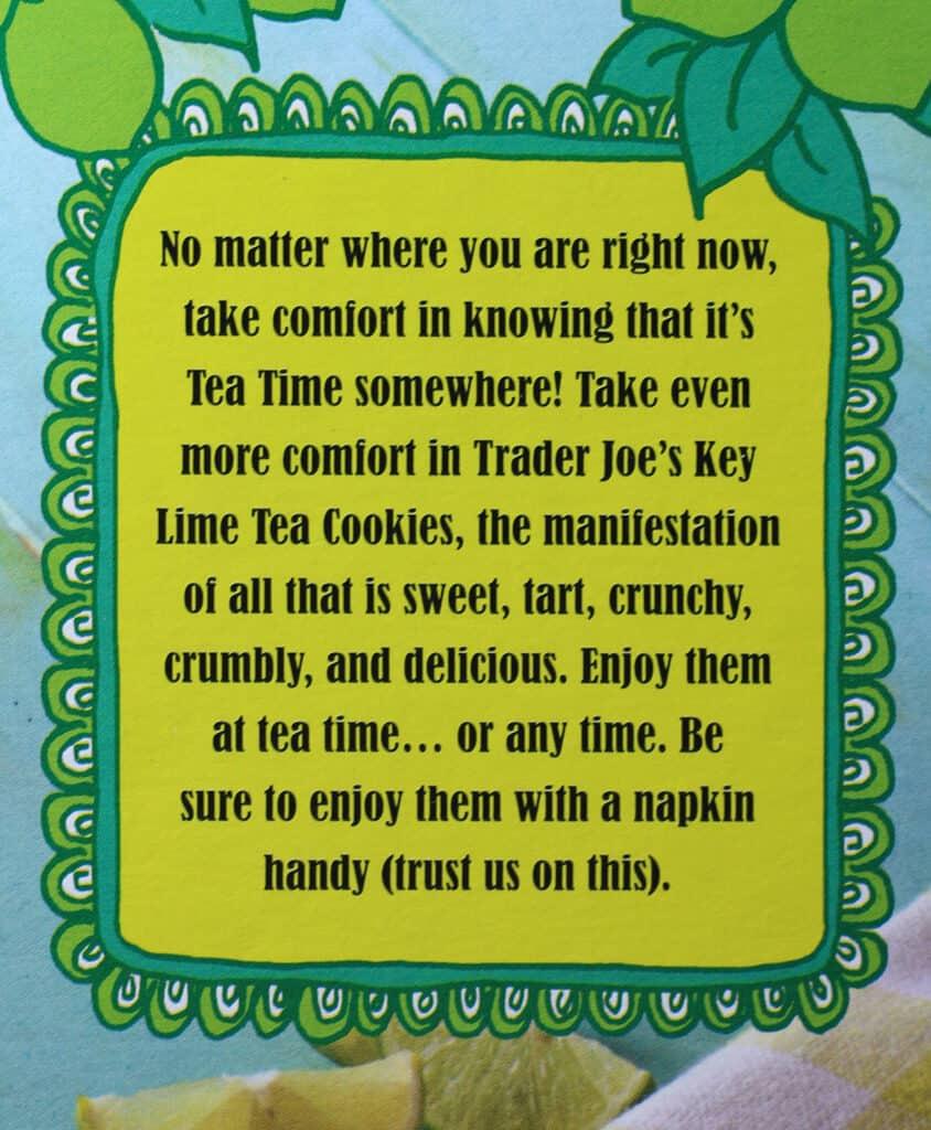 Trader Joe's Key Lime Tea Cookies description on the box
