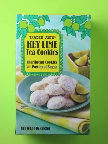 Trader Joe's Key Lime Tea Cookies box on a green background