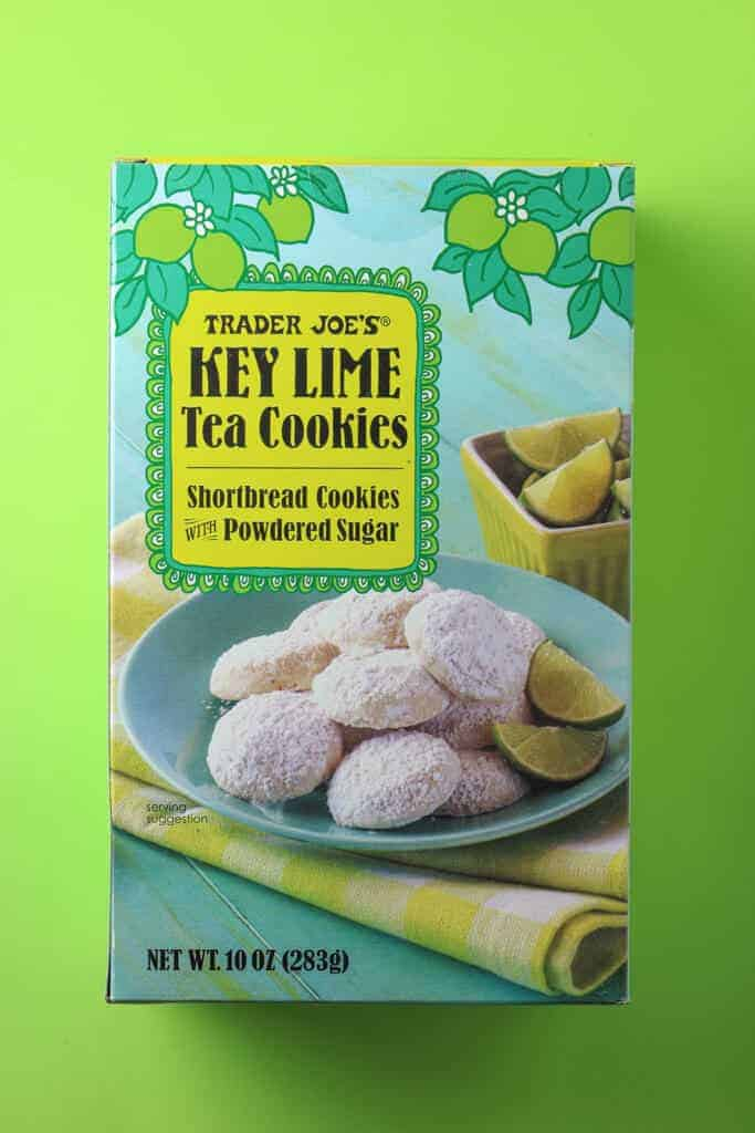 Trader Joe's Key Lime Tea Cookies box on a green background
