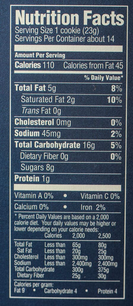 Trader Joe's Maple Leaf Cookies nutritional information