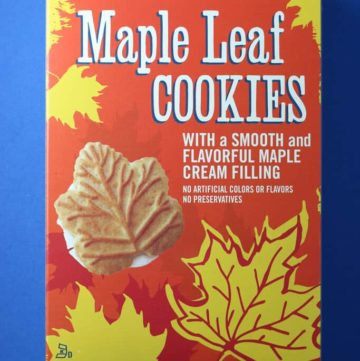 An unopened box of Trader Joe's Maple Leaf Cookies