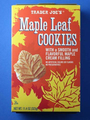 An unopened box of Trader Joe's Maple Leaf Cookies