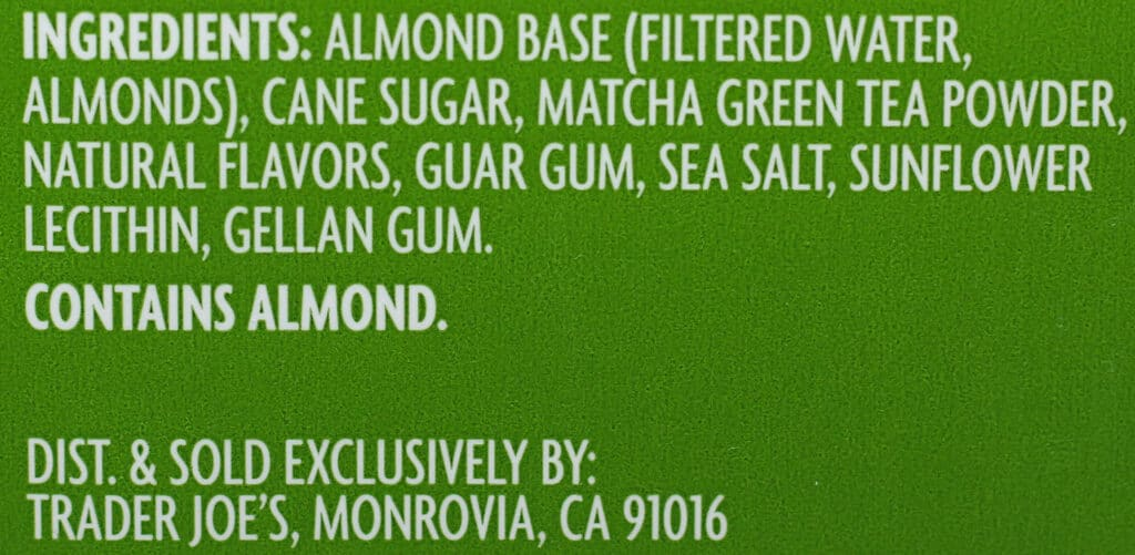 Trader Joe's Matcha Almond Beverage ingredient list