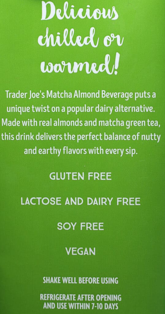 Trader Joe's Matcha Almond Beverage description