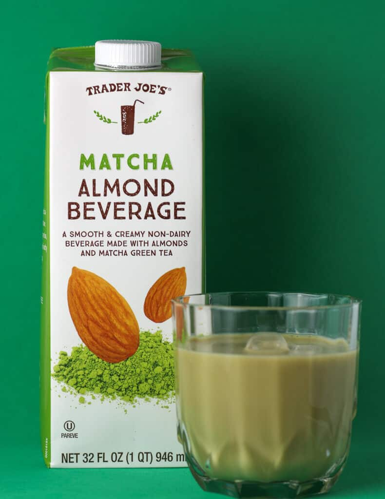 Trader Joe's Matcha Almond Beverage out of the box and next to the original package.
