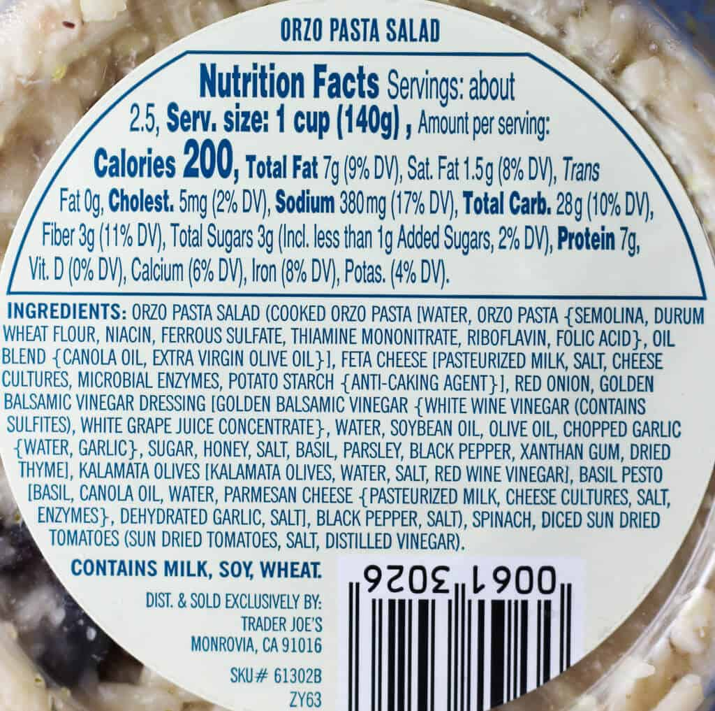 Trader Joe's Mediterranean Style Orzo Pasta Salad nutritional and ingredient information