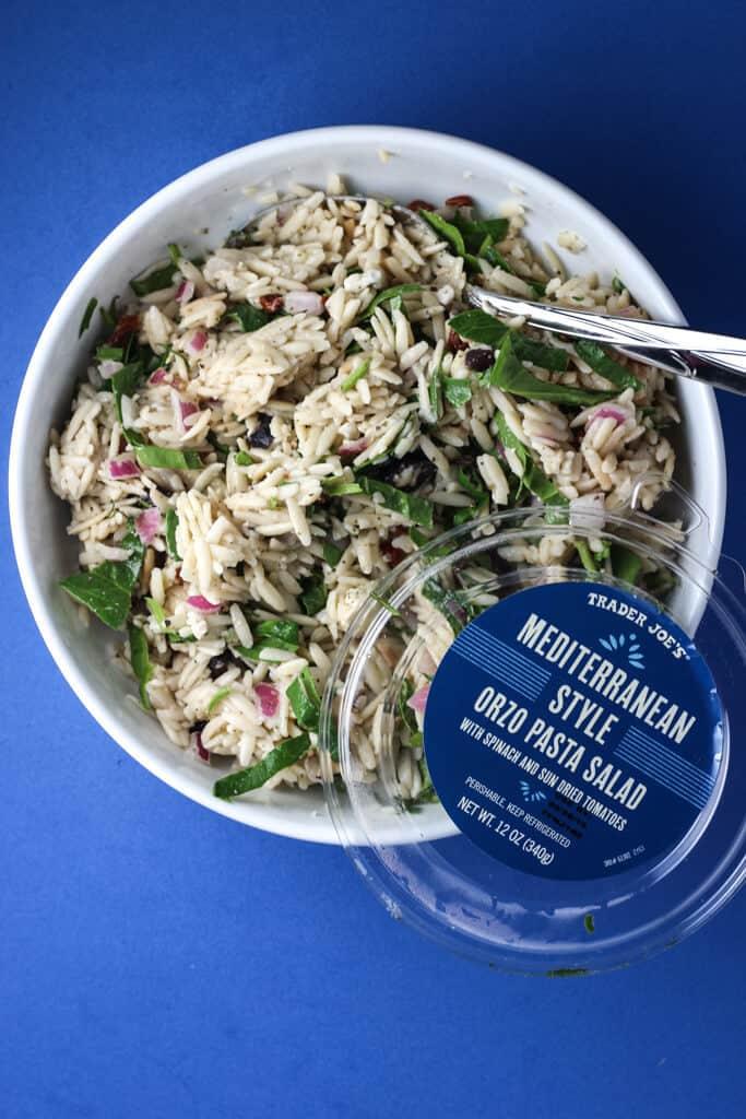Trader Joe's Mediterranean Style Orzo Pasta Salad mixed in a bowl