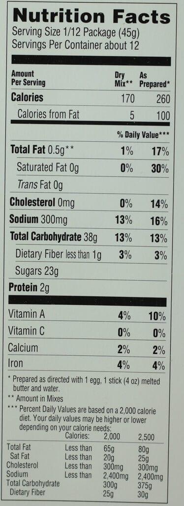 Trader Joe's Meyer Lemon Cake Mix with Lemon Icing nutritional information
