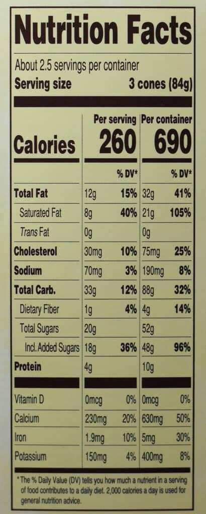 Trader Joe's Mini Hold the Cone Vanilla Ice Cream Cones nutritional information