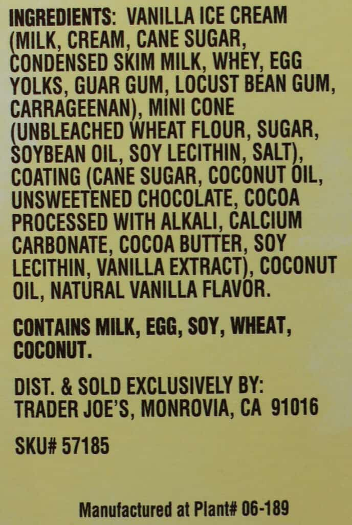 Trader Joe's Mini Hold the Cone Vanilla Ice Cream Cones ingredients