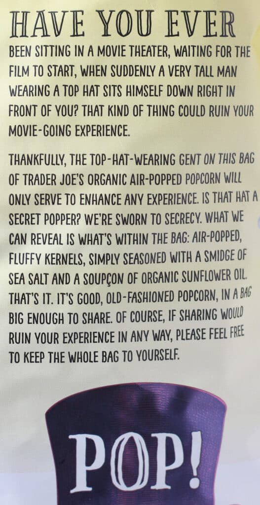 Trader Joe's Organic Air Popped Popcorn description
