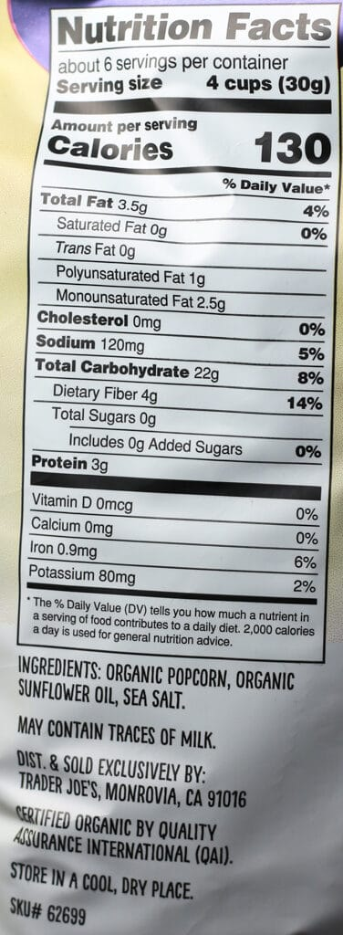 Trader Joe's Organic Air Popped Popcorn nutritional information and ingredients